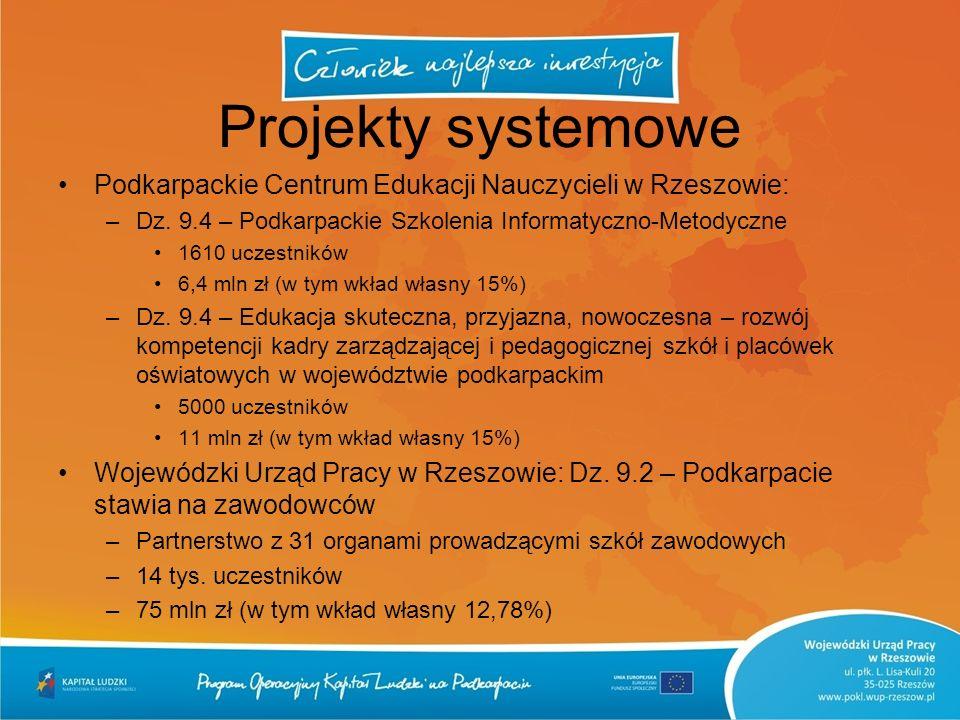 Projekty systemowe Podkarpackie Centrum Edukacji Nauczycieli w Rzeszowie: –Dz. 9.4 – Podkarpackie Szkolenia Informatyczno-Metodyczne 1610 uczestników