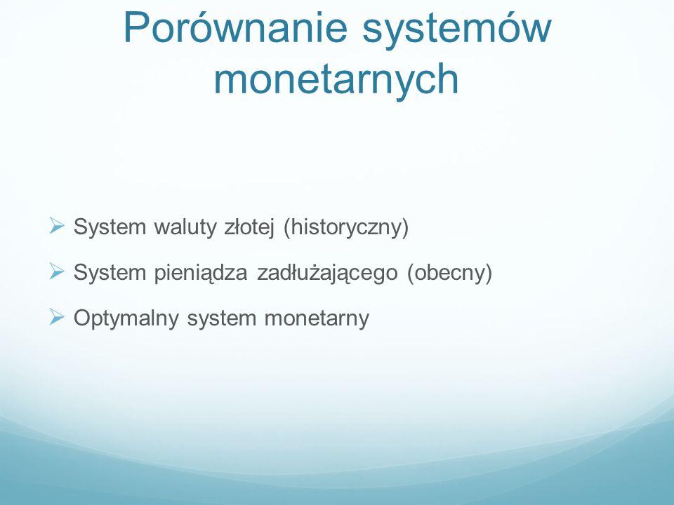 Cechy optymalnego systemu monetarnego Niezaleśność od systemu bankowego Brak arbitralnych decyzji Ilość pieniędzy zależna od potrzeb gospodarki Odporność na szoki Rynkowe stopy procentowe Płynny kurs walutowy