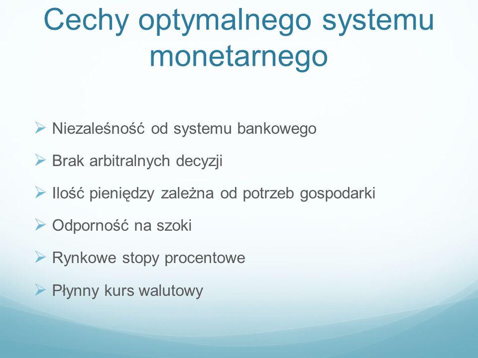 Cechy optymalnego systemu monetarnego Niezaleśność od systemu bankowego Brak arbitralnych decyzji Ilość pieniędzy zależna od potrzeb gospodarki Odporn