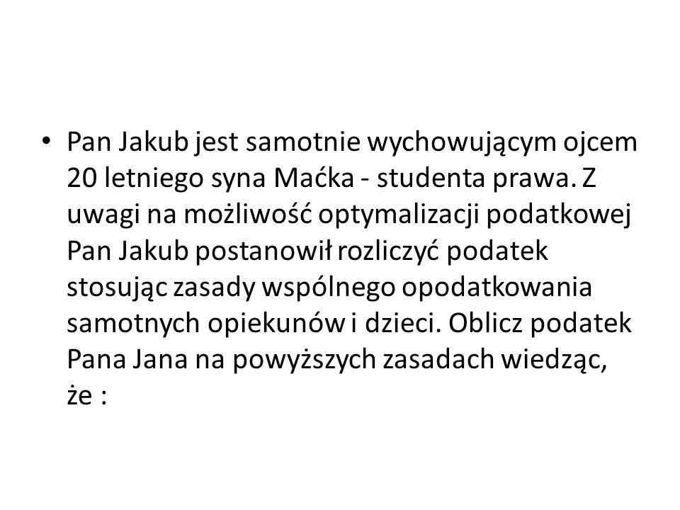 Pan Jakub jest samotnie wychowującym ojcem 20 letniego syna Maćka - studenta prawa.