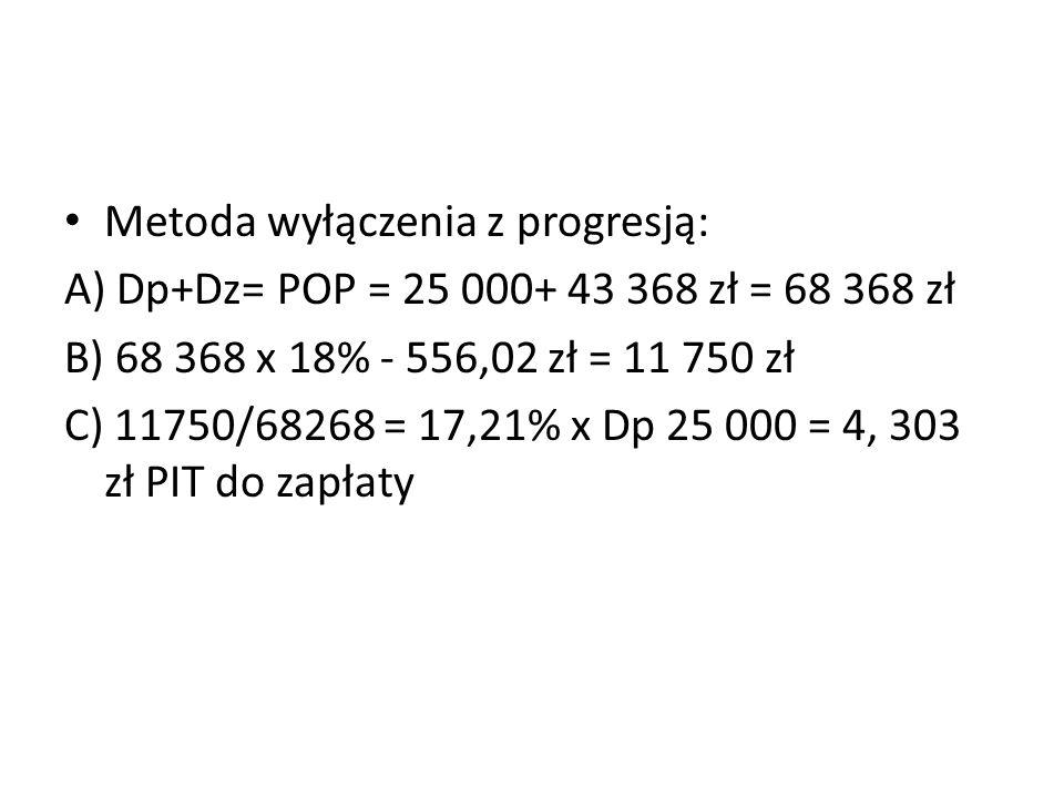 Metoda wyłączenia z progresją: A) Dp+Dz= POP = 25 000+ 43 368 zł = 68 368 zł B) 68 368 x 18% - 556,02 zł = 11 750 zł C) 11750/68268 = 17,21% x Dp 25 000 = 4, 303 zł PIT do zapłaty