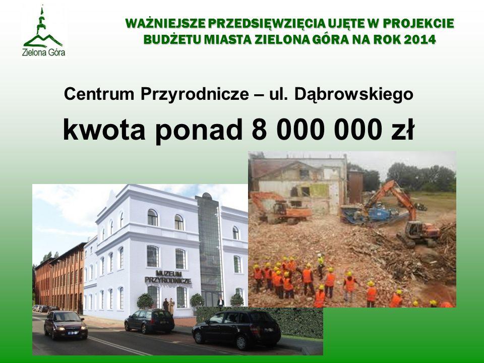 WAŻNIEJSZE PRZEDSIĘWZIĘCIA UJĘTE W PROJEKCIE BUDŻETU MIASTA ZIELONA GÓRA NA ROK 2014 Centrum Przyrodnicze – ul. Dąbrowskiego kwota ponad 8 000 000 zł