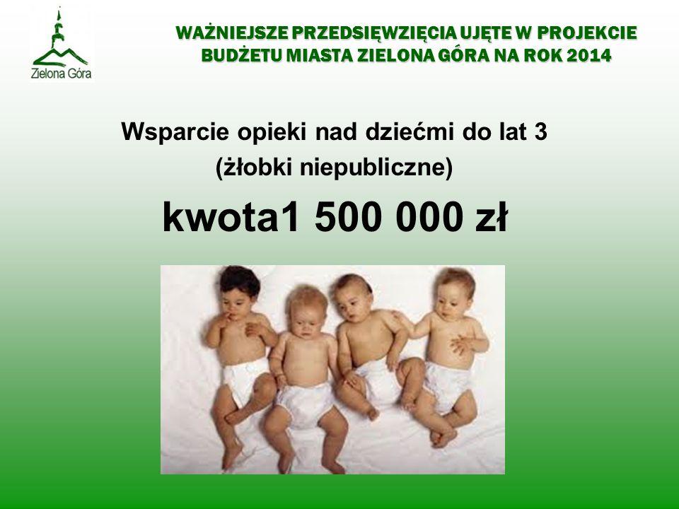 WAŻNIEJSZE PRZEDSIĘWZIĘCIA UJĘTE W PROJEKCIE BUDŻETU MIASTA ZIELONA GÓRA NA ROK 2014 Wsparcie opieki nad dziećmi do lat 3 (żłobki niepubliczne) kwota1