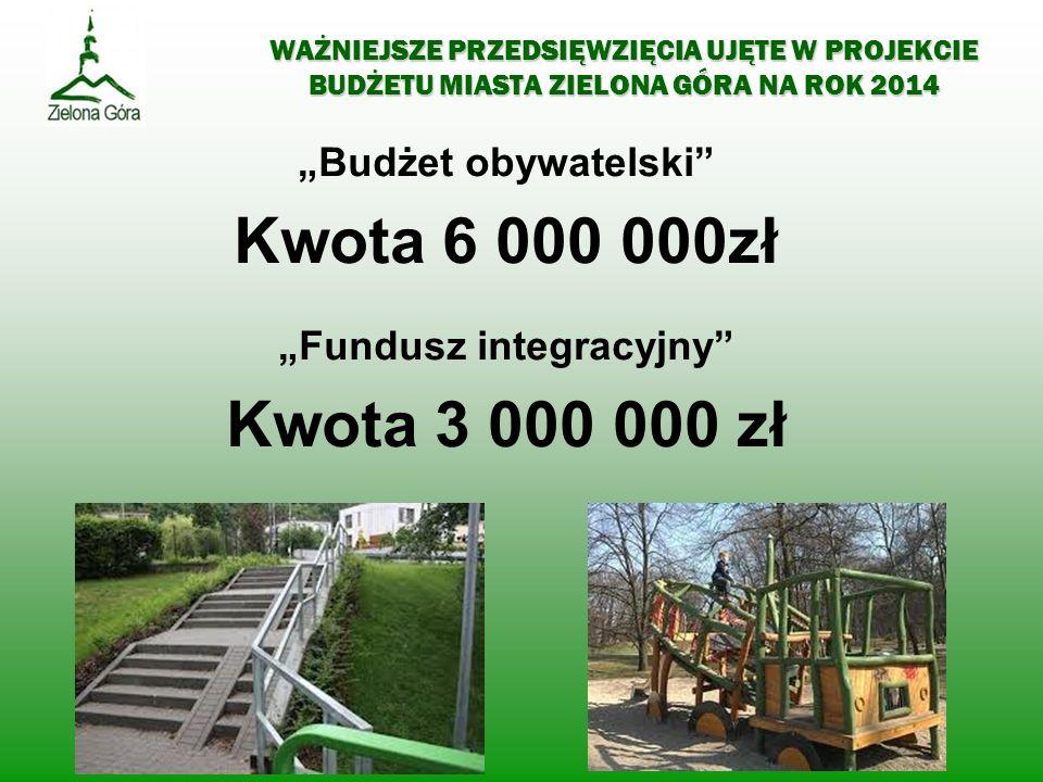 WAŻNIEJSZE PRZEDSIĘWZIĘCIA UJĘTE W PROJEKCIE BUDŻETU MIASTA ZIELONA GÓRA NA ROK 2014 Budżet obywatelski Kwota 6 000 000zł Fundusz integracyjny Kwota 3