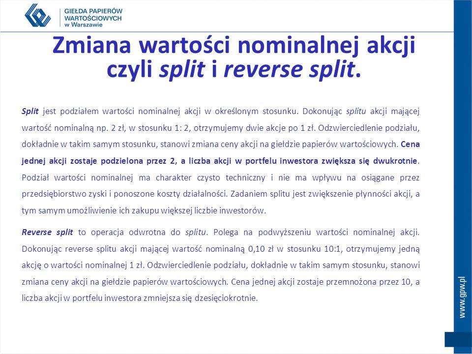 Zmiana wartości nominalnej akcji czyli split i reverse split.