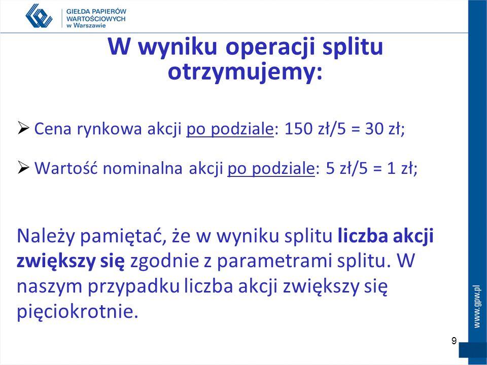 W wyniku operacji splitu otrzymujemy: Cena rynkowa akcji po podziale: 150 zł/5 = 30 zł; Wartość nominalna akcji po podziale: 5 zł/5 = 1 zł; Należy pamiętać, że w wyniku splitu liczba akcji zwiększy się zgodnie z parametrami splitu.