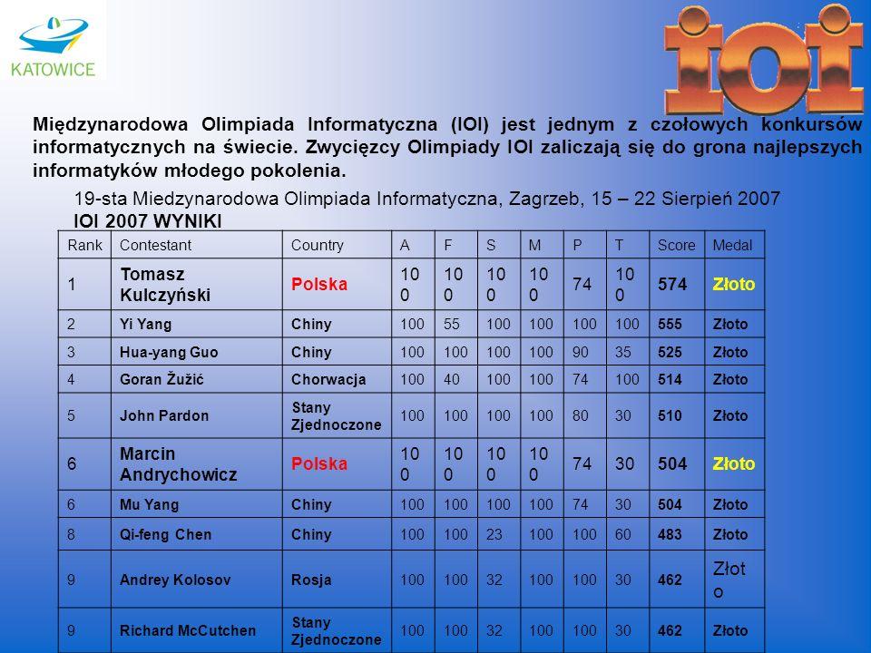 Międzynarodowa Olimpiada Informatyczna (IOI) jest jednym z czołowych konkursów informatycznych na świecie. Zwycięzcy Olimpiady IOI zaliczają się do gr