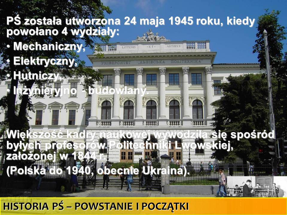29 PŚ została utworzona 24 maja 1945 roku, kiedy powołano 4 wydziały: Mechaniczny, Mechaniczny, Elektryczny, Elektryczny, Hutniczy, Hutniczy, Inżynier