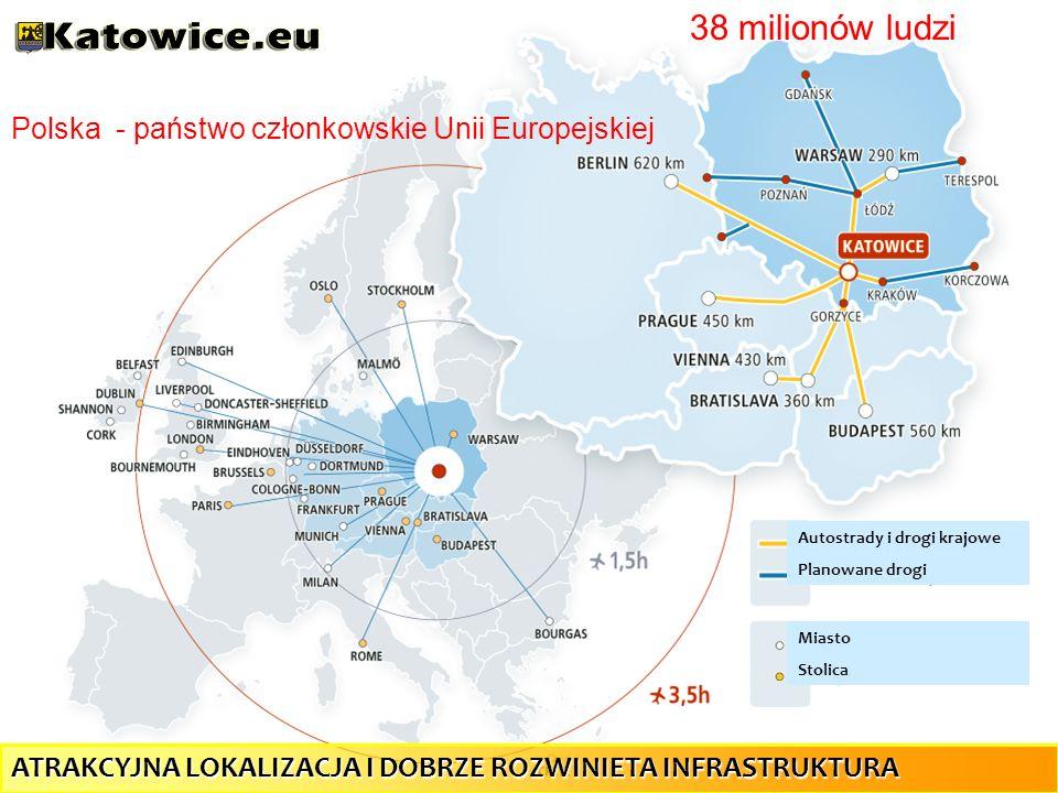 Autostrady i drogi krajowe Planowane drogi Miasto Stolica Polska - państwo członkowskie Unii Europejskiej 38 milionów ludzi ATRAKCYJNA LOKALIZACJA I D