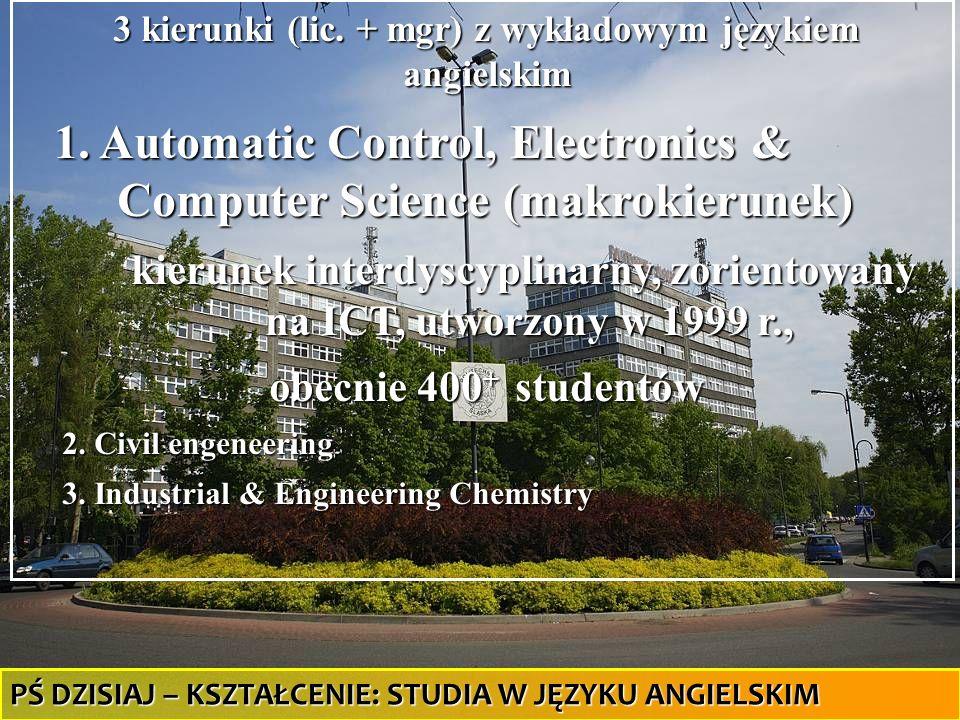 32 3 kierunki (lic. + mgr) z wykładowym językiem angielskim 1. Automatic Control, Electronics & Computer Science (makrokierunek) 1. Automatic Control,