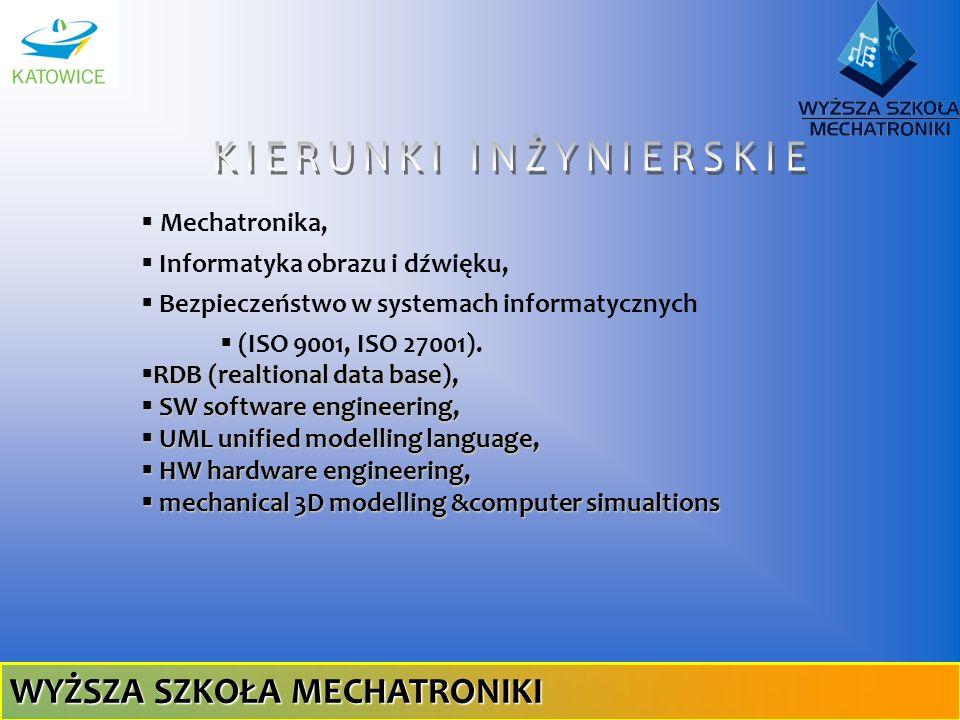 Mechatronika, Informatyka obrazu i dźwięku, Bezpieczeństwo w systemach informatycznych (ISO 9001, ISO 27001). RDB (realtional data base), RDB (realtio