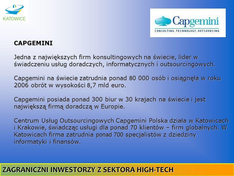 CAPGEMINI Jedna z największych firm konsultingowych na świecie, lider w świadczeniu usług doradczych, informatycznych i outsourcingowych. Capgemini na