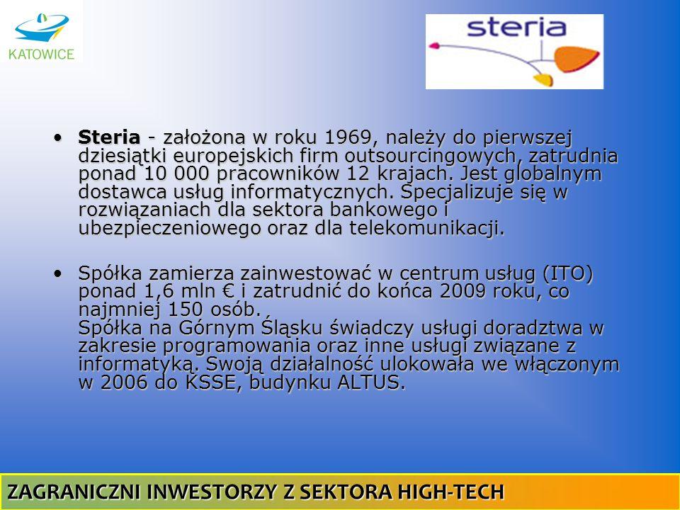 Steria - założona w roku 1969, należy do pierwszej dziesiątki europejskich firm outsourcingowych, zatrudnia ponad 10 000 pracowników 12 krajach. Jest