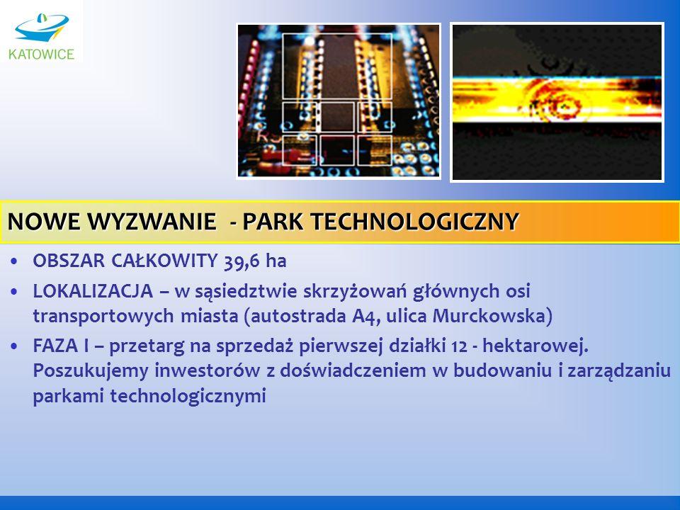 OBSZAR CAŁKOWITY 39,6 ha LOKALIZACJA – w sąsiedztwie skrzyżowań głównych osi transportowych miasta (autostrada A4, ulica Murckowska) FAZA I – przetarg