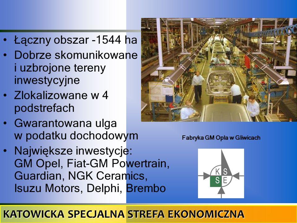 Łączny obszar -1544 ha Dobrze skomunikowane i uzbrojone tereny inwestycyjne Zlokalizowane w 4 podstrefach Gwarantowana ulga w podatku dochodowym Najwi
