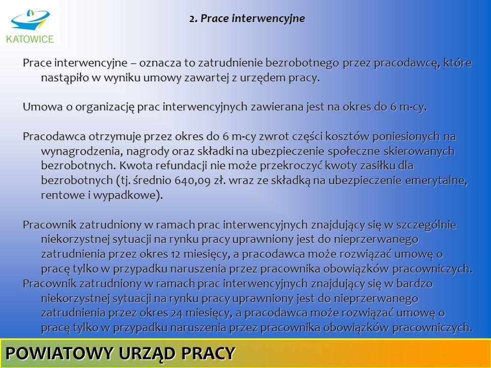 2. Prace interwencyjne Prace interwencyjne – oznacza to zatrudnienie bezrobotnego przez pracodawcę, które nastąpiło w wyniku umowy zawartej z urzędem