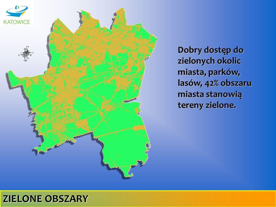 Dobry dostęp do zielonych okolic miasta, parków, lasów, 42% obszaru miasta stanowią tereny zielone. ZIELONE OBSZARY