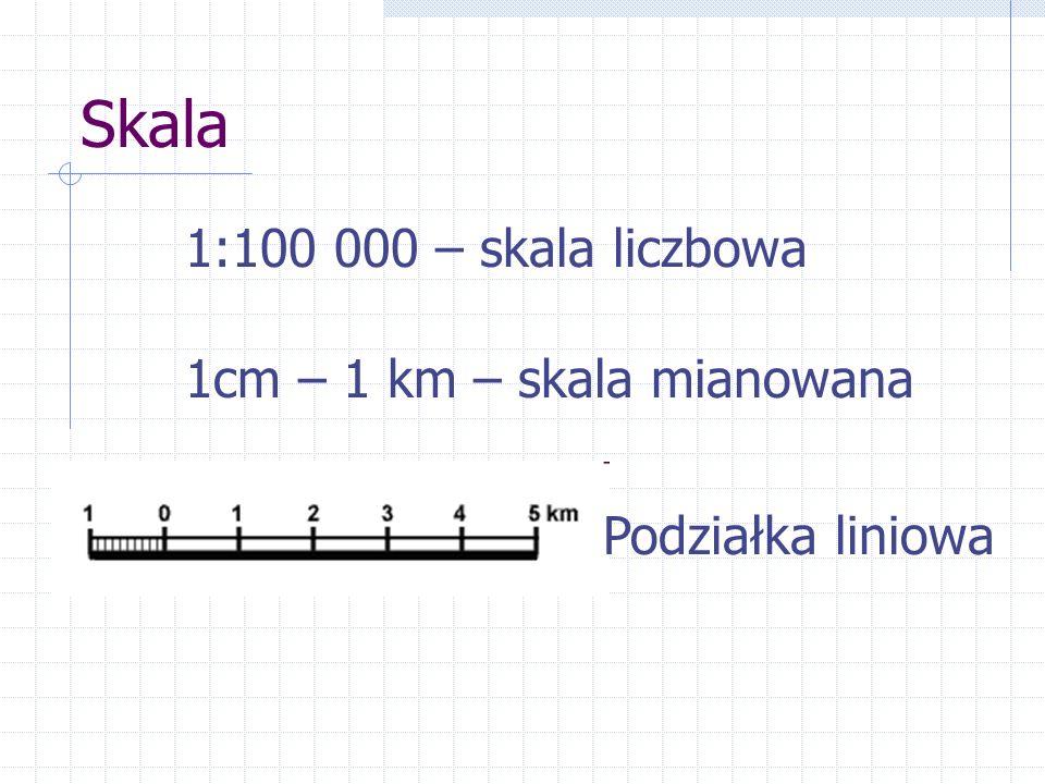 Skala 1:100 000 – skala liczbowa 1cm – 1 km – skala mianowana Podziałka liniowa