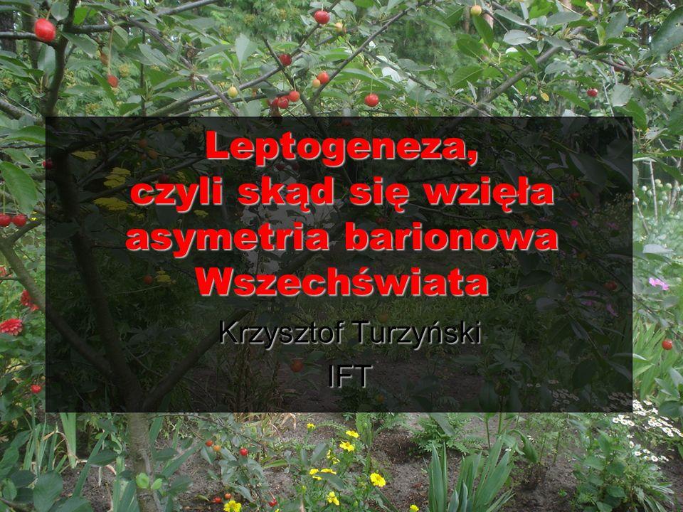 Leptogeneza, czyli skąd się wzięła asymetria barionowa Wszechświata Krzysztof Turzyński IFT