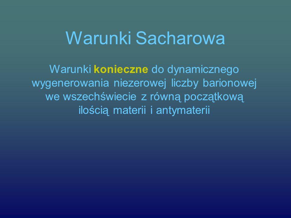 Warunki Sacharowa Warunki konieczne do dynamicznego wygenerowania niezerowej liczby barionowej we wszechświecie z równą początkową ilością materii i antymaterii