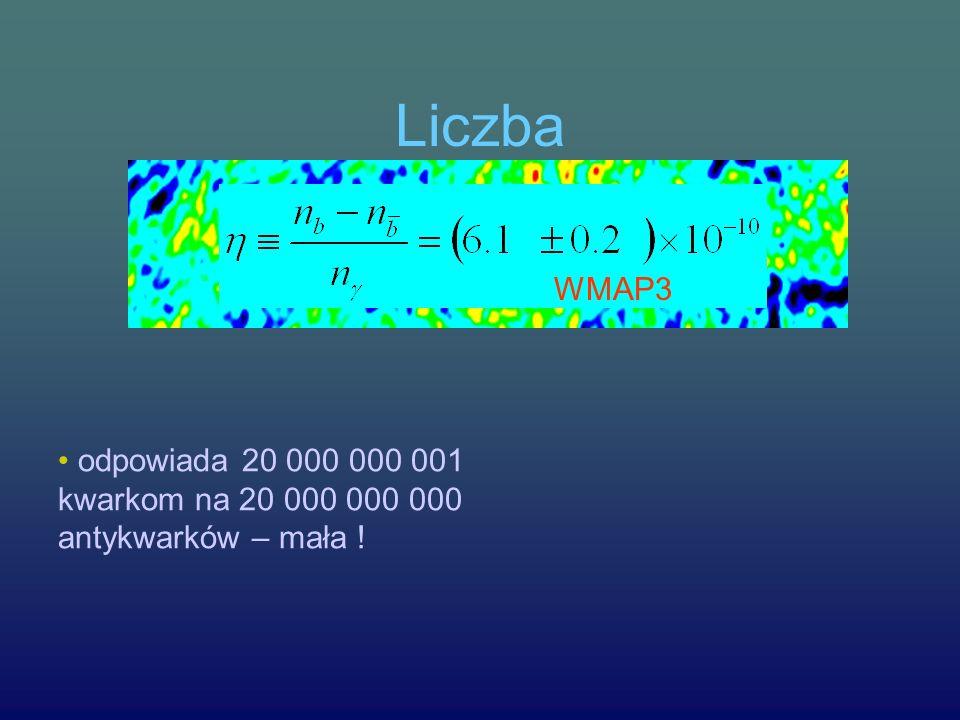 Liczba odpowiada 20 000 000 001 kwarkom na 20 000 000 000 antykwarków – mała ! WMAP3