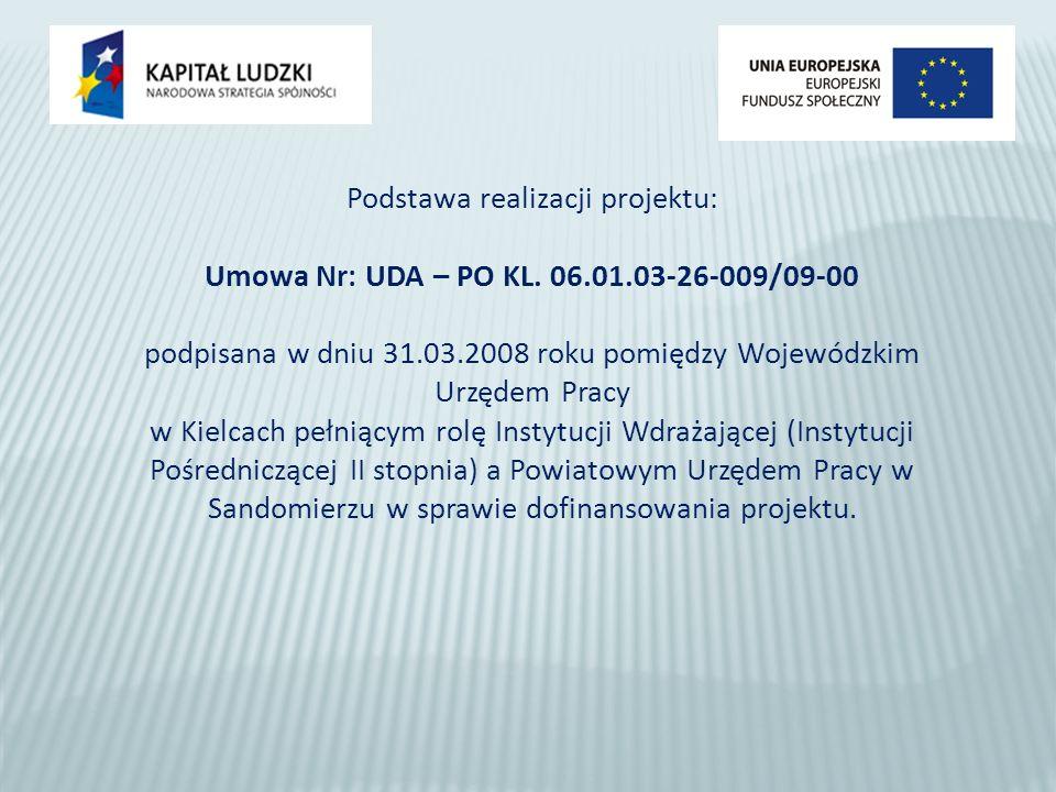Podstawa realizacji projektu: Umowa Nr: UDA – PO KL.