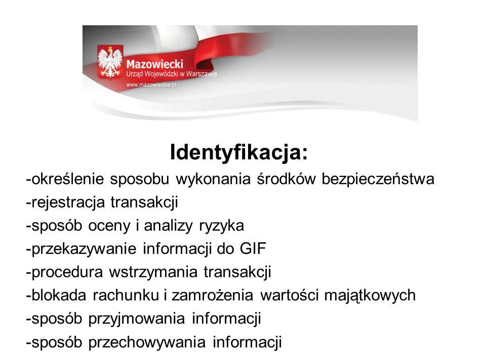 Identyfikacja: -określenie sposobu wykonania środków bezpieczeństwa -rejestracja transakcji -sposób oceny i analizy ryzyka -przekazywanie informacji d