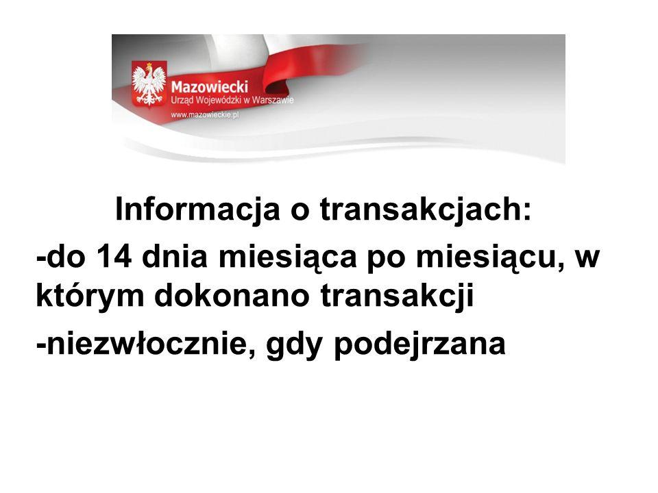 Informacja o transakcjach: -do 14 dnia miesiąca po miesiącu, w którym dokonano transakcji -niezwłocznie, gdy podejrzana