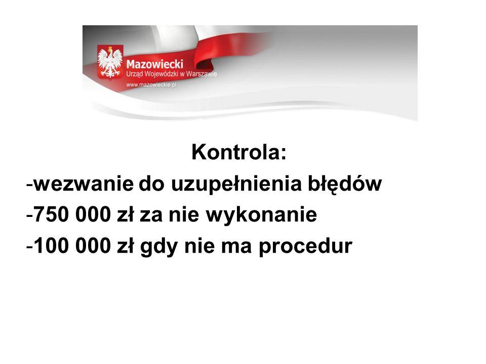Kontrola: -wezwanie do uzupełnienia błędów -750 000 zł za nie wykonanie -100 000 zł gdy nie ma procedur