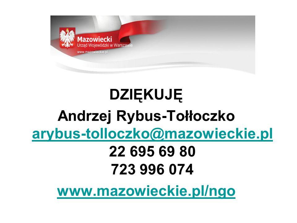 DZIĘKUJĘ Andrzej Rybus-Tołłoczko arybus-tolloczko@mazowieckie.pl 22 695 69 80 723 996 074 arybus-tolloczko@mazowieckie.pl www.mazowieckie.pl/ngo