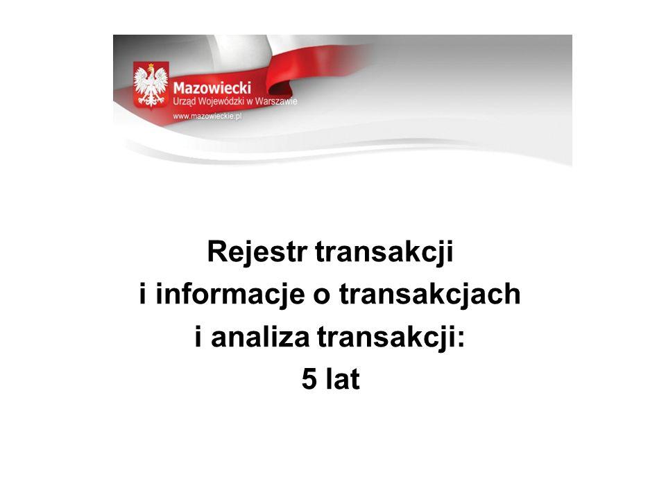 Informacja o transakcji: -datę przeprowadzenia, -dane identyfikacyjne, -kwota, waluta, rodzaj transakcji, -numer rachunków, -uzasadnienie, miejsce, data i sposób złożenia dyspozycji