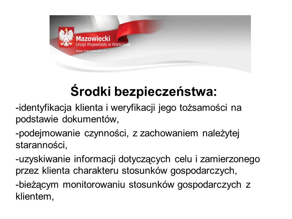 Środki bezpieczeństwa: -identyfikacja klienta i weryfikacji jego tożsamości na podstawie dokumentów, -podejmowanie czynności, z zachowaniem należytej