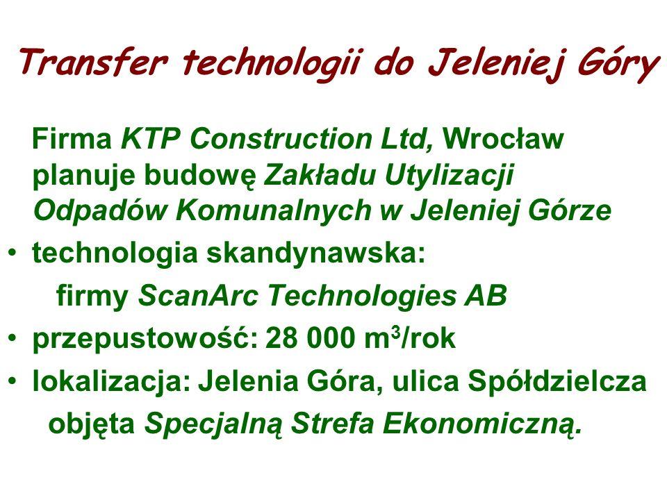 Transfer technologii do Jeleniej Góry Firma KTP Construction Ltd, Wrocław planuje budowę Zakładu Utylizacji Odpadów Komunalnych w Jeleniej Górze techn