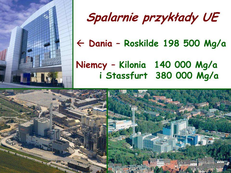 Spalarnie przykłady UE Dania – Roskilde 198 500 Mg/a Niemcy – Kilonia 140 000 Mg/a i Stassfurt 380 000 Mg/a