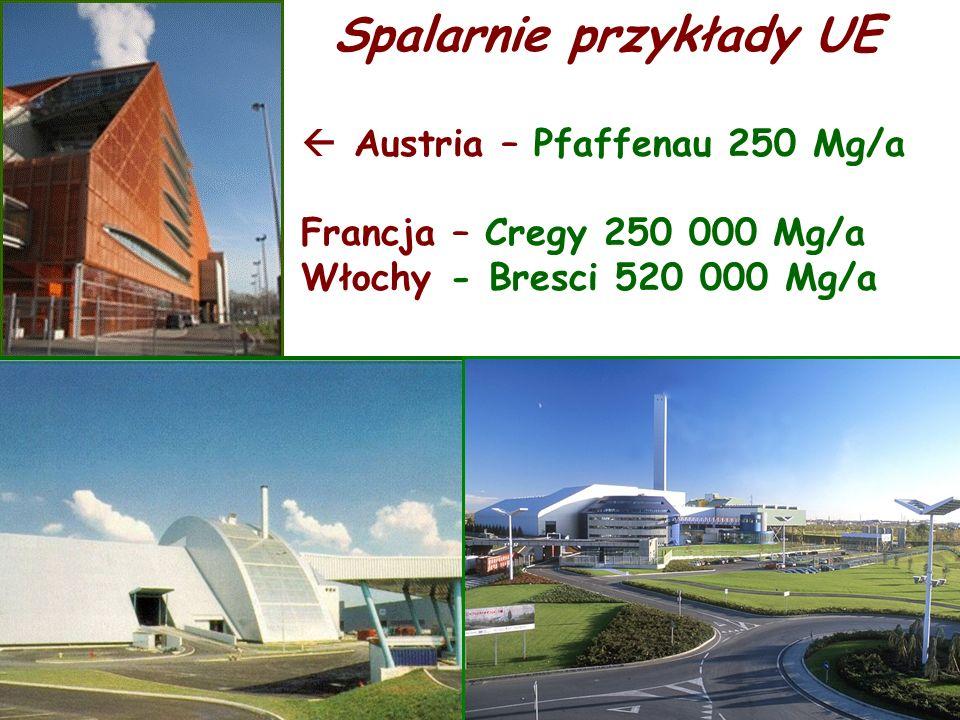 Spalarnie przykłady UE Austria – Pfaffenau 250 Mg/a Francja – Cregy 250 000 Mg/a Włochy - Bresci 520 000 Mg/a