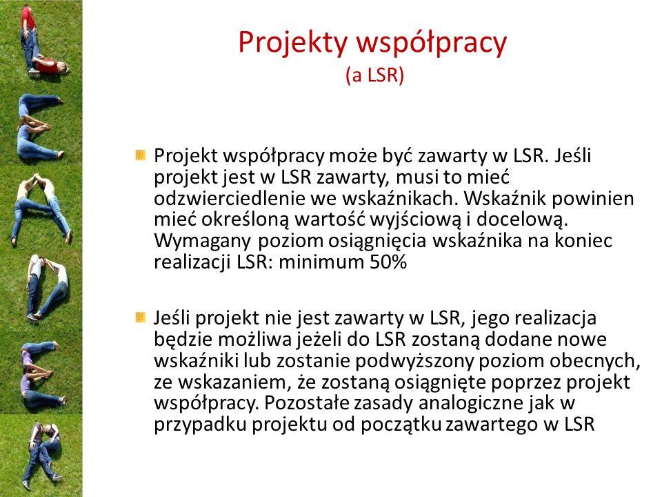 Projekty współpracy (a LSR) Projekt współpracy może być zawarty w LSR. Jeśli projekt jest w LSR zawarty, musi to mieć odzwierciedlenie we wskaźnikach.