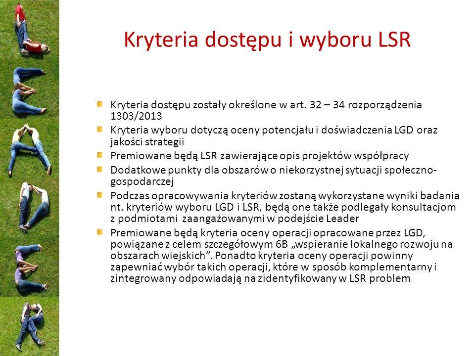 Kryteria dostępu i wyboru LSR Kryteria dostępu zostały określone w art. 32 – 34 rozporządzenia 1303/2013 Kryteria wyboru dotyczą oceny potencjału i do