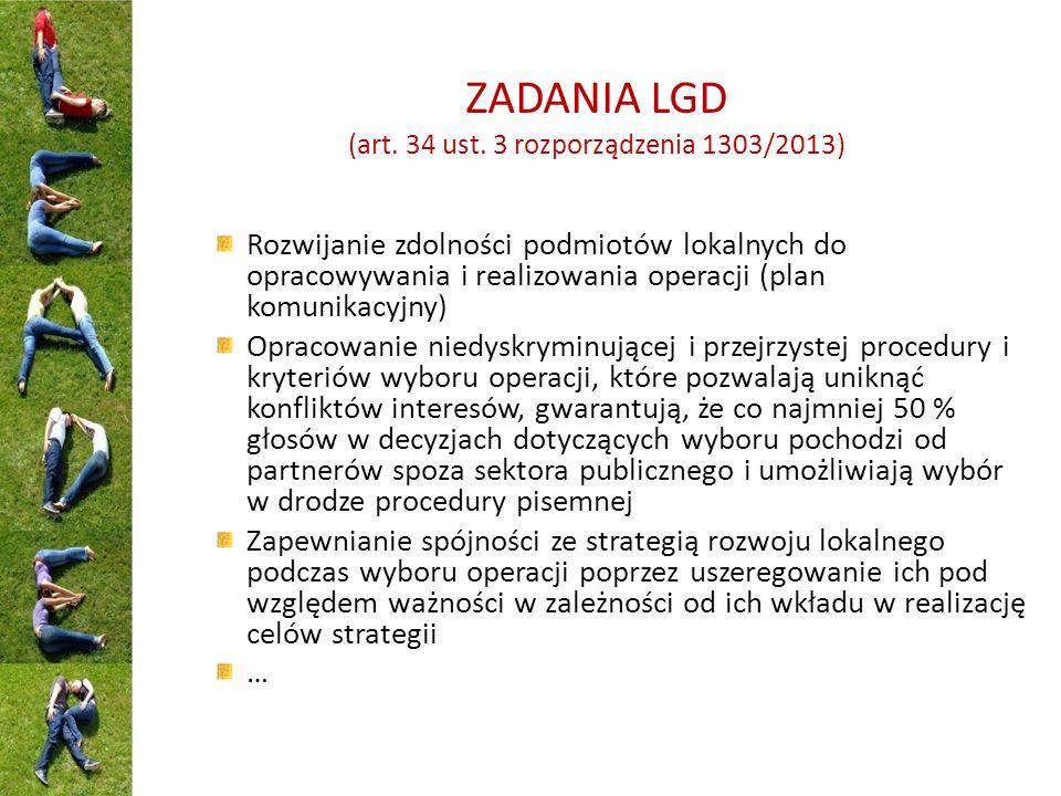 ZADANIA LGD (art. 34 ust. 3 rozporządzenia 1303/2013) Rozwijanie zdolności podmiotów lokalnych do opracowywania i realizowania operacji (plan komunika