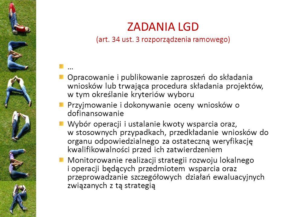 ZADANIA LGD (art. 34 ust. 3 rozporządzenia ramowego) … Opracowanie i publikowanie zaproszeń do składania wniosków lub trwająca procedura składania pro