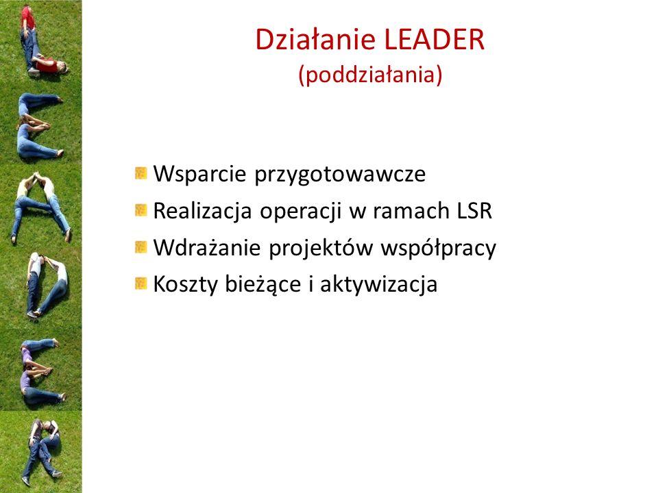 Działanie LEADER (poddziałania) Wsparcie przygotowawcze Realizacja operacji w ramach LSR Wdrażanie projektów współpracy Koszty bieżące i aktywizacja
