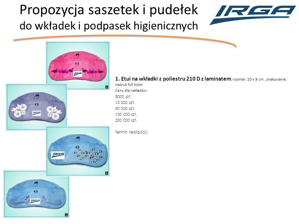 Propozycja saszetek i pudełek do wkładek i podpasek higienicznych 1.