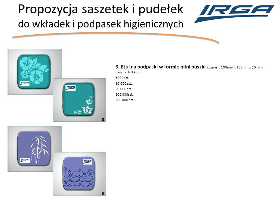 Propozycja saszetek i pudełek do wkładek i podpasek higienicznych 3.