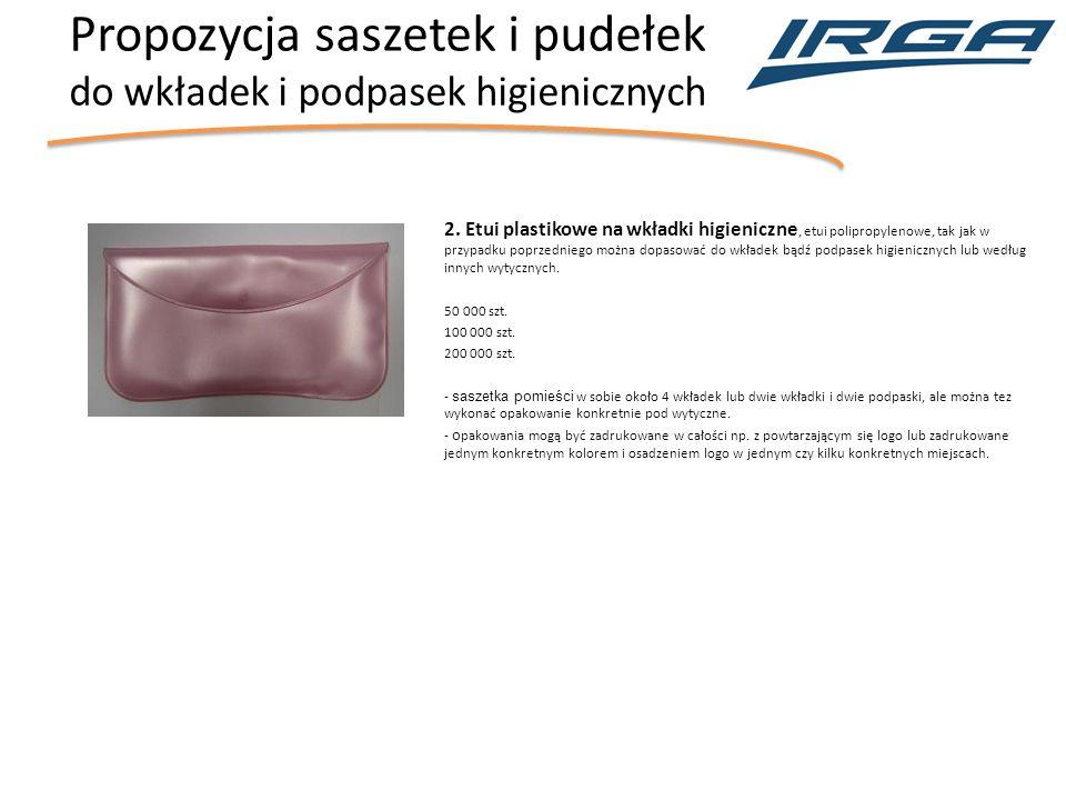 Propozycja saszetek i pudełek do wkładek i podpasek higienicznych 2.