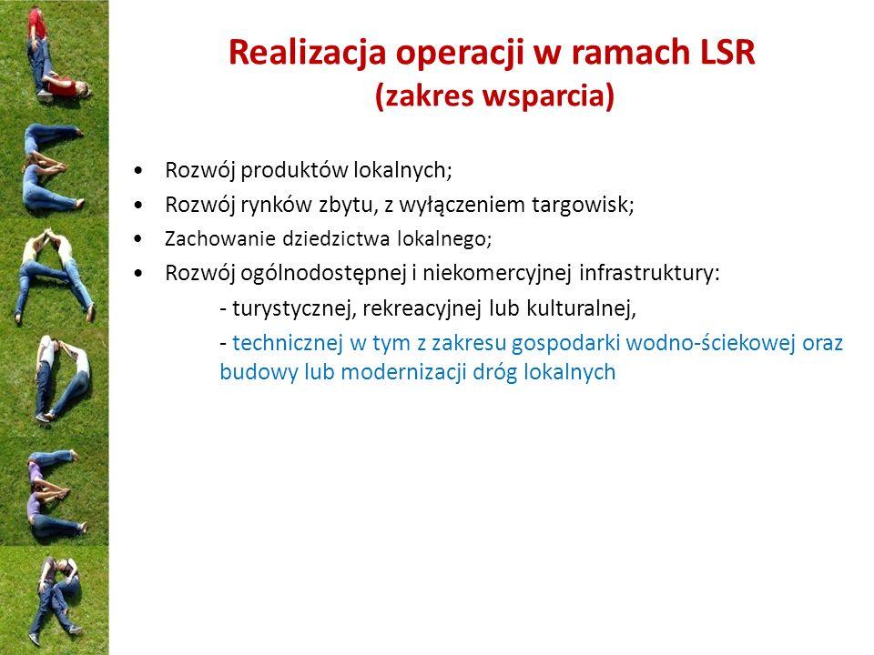 Realizacja operacji w ramach LSR (zakres wsparcia) Rozwój produktów lokalnych; Rozwój rynków zbytu, z wyłączeniem targowisk; Zachowanie dziedzictwa lo