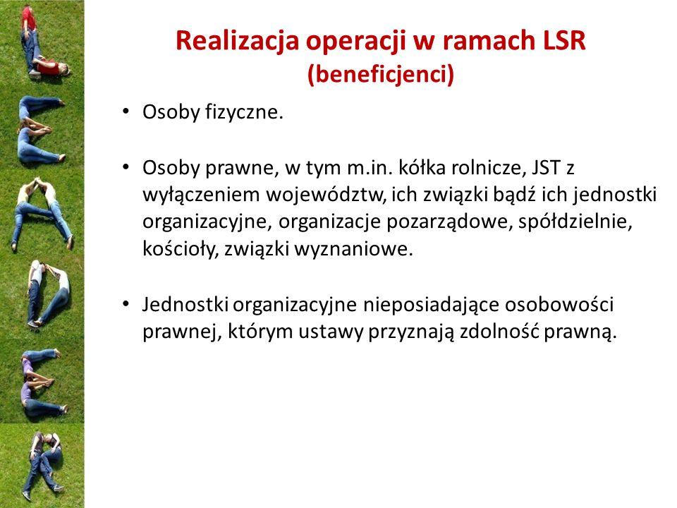Realizacja operacji w ramach LSR (beneficjenci) Osoby fizyczne. Osoby prawne, w tym m.in. kółka rolnicze, JST z wyłączeniem województw, ich związki bą