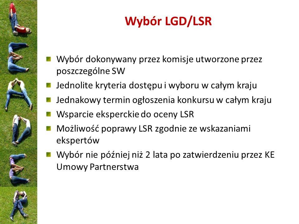 Wybór LGD/LSR Wybór dokonywany przez komisje utworzone przez poszczególne SW Jednolite kryteria dostępu i wyboru w całym kraju Jednakowy termin ogłosz
