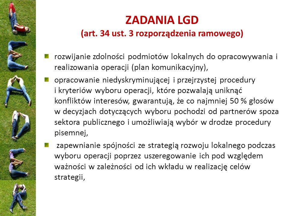 ZADANIA LGD (art. 34 ust. 3 rozporządzenia ramowego) rozwijanie zdolności podmiotów lokalnych do opracowywania i realizowania operacji (plan komunikac