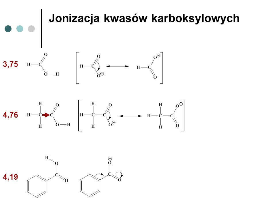 Jonizacja kwasów karboksylowych 4,19 4,76 3,75