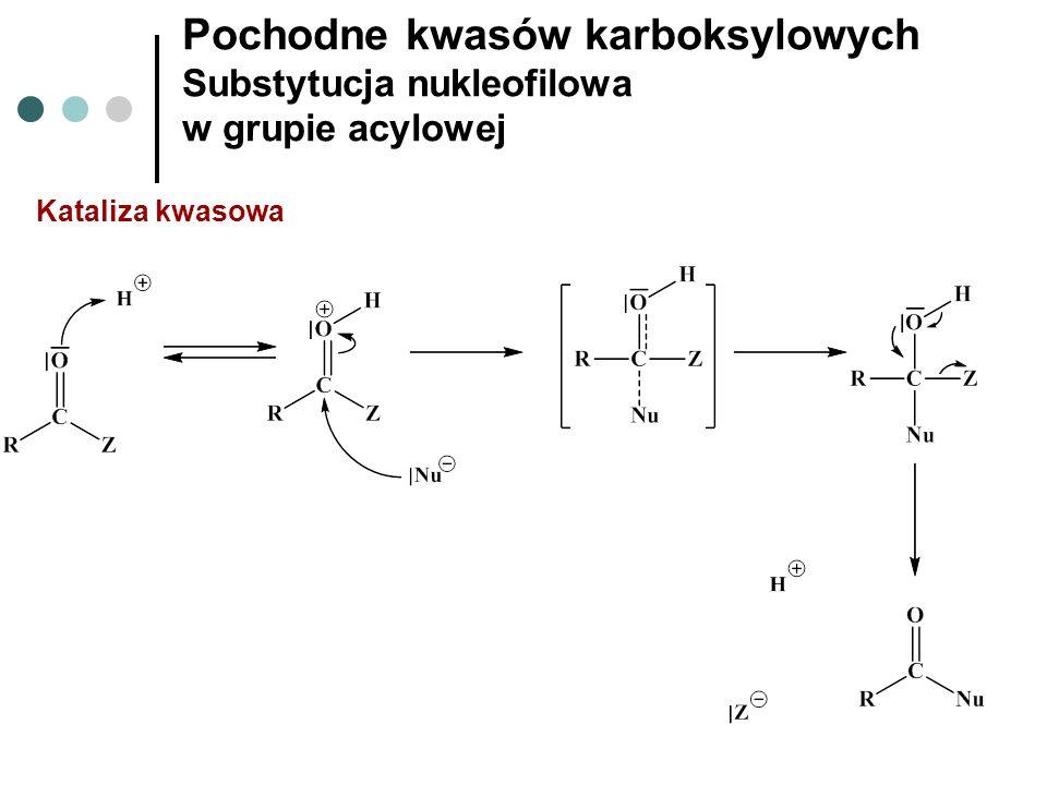 Pochodne kwasów karboksylowych Substytucja nukleofilowa w grupie acylowej Kataliza kwasowa