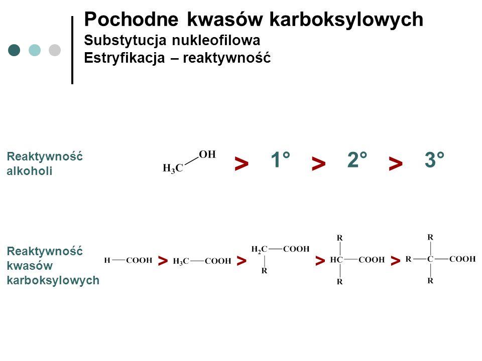 Pochodne kwasów karboksylowych Substytucja nukleofilowa Estryfikacja – reaktywność Reaktywność alkoholi > 1°1°2°2° 3°3° >> Reaktywność kwasów karboksy